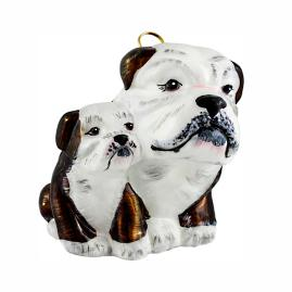 Brown and White Bulldog Mother with Puppy Ornament