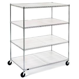 Oversized Chrome Four-Tier Shelf with Liners