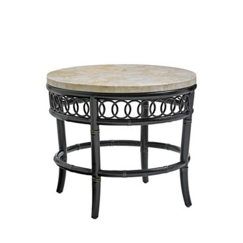 Marimba Round Crystal Stone Top End Table By Tommy Bahama