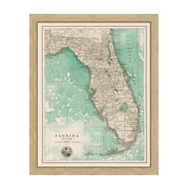 Florida Sepia Framed Map