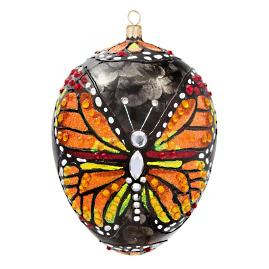 Monarch Butterfly Jeweled Egg Ornament