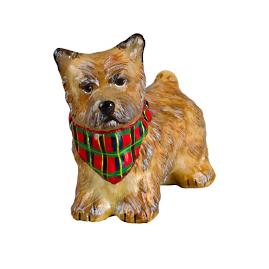 Cream Cairn Terrier with Tartan Plaid Bandana Ornament