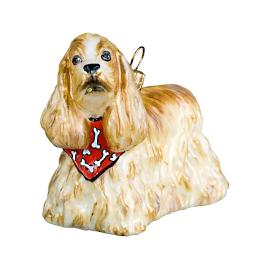 Blond Cocker Spaniel with Bandana Ornament