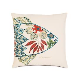 Suwanee Hand-Painted Fish Head Decorative Pillow