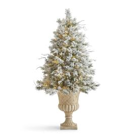 Flocked Norway 5' Spruce Tree in Urn