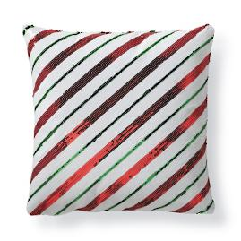 Candy Cane Stripes Sequins Decorative Pillow