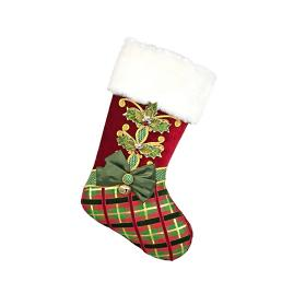 Holly and Plaid Christmas Stocking