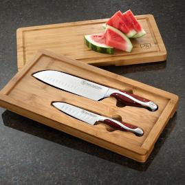 Hammer Stahl 2-piece Santoku Knife Set in Bamboo