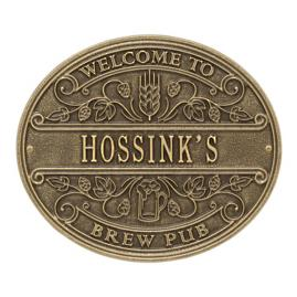 Personalized Brew Pub Welcome Wall Plaque