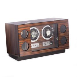 Ebony Burlwood 6-pc. Watch Winder and Storage Case
