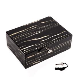 Lacquered Ebony Wood Jewelry Box with Valet Tray