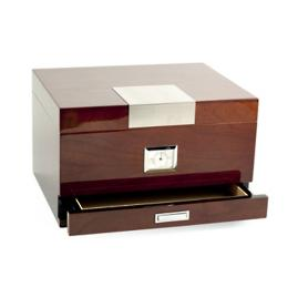 Lacquered Walnut 60-cigar Humidor with Accessory Tray
