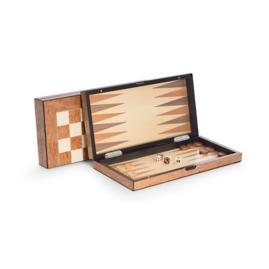 Lacquered Wood Backgammon and Chess Set