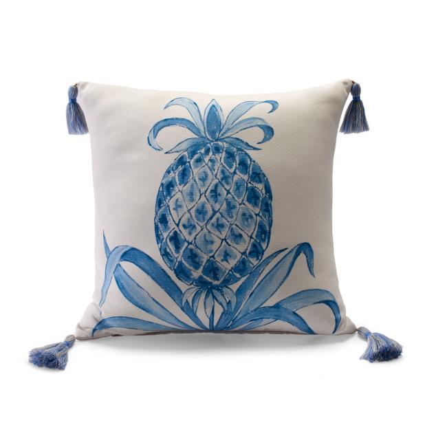Royal Pineapple Air Blue Outdoor Pillow