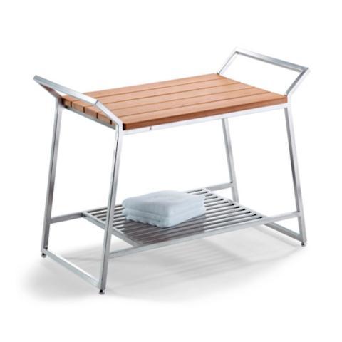 Marais Teak/Stainless Shower Bench | Frontgate