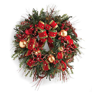Glad Tidings Pre-decorated Cordless Wreath