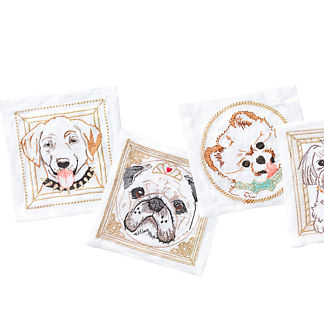 Dog Portrait Cocktail Napkins, Set of Six