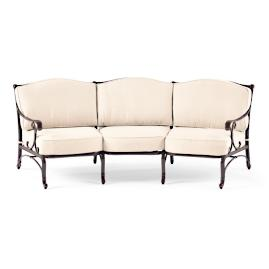 Orleans Curved Sofa with Cushions in Chocolate Finish