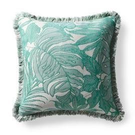 Island Leaves Jade Outdoor Pillow