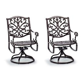 Orleans Swivel Dining Arm Chairs in Chocolate Finish,