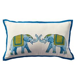 Roaming Elephants Outdoor Lumbar Pillow