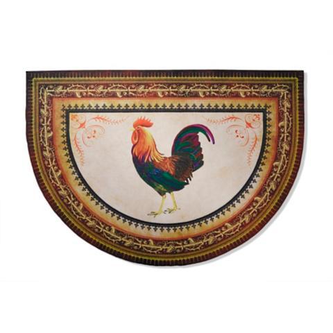 Victory Rooster Half Round Kitchen Mat