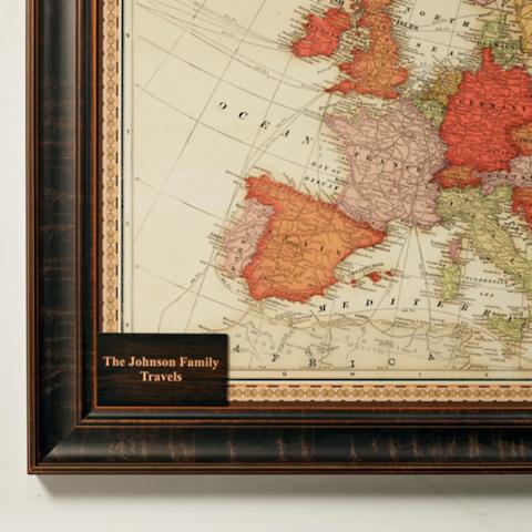 Magnetic travel maps frontgate personalized plaque for europe travel map gumiabroncs Gallery