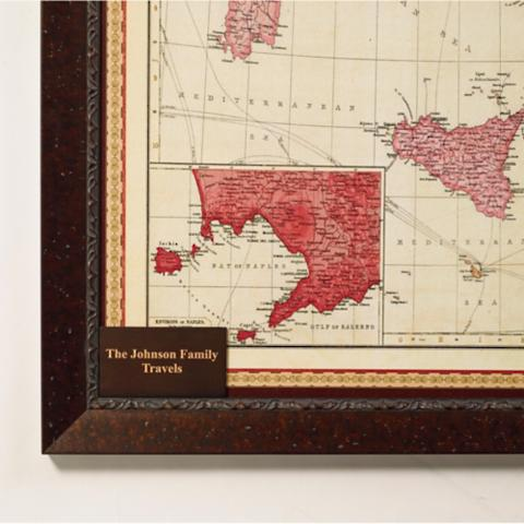 Magnetic travel maps frontgate personalized plaque for italy travel map gumiabroncs Gallery