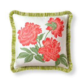 Peony Spring Coral Outdoor Pillow