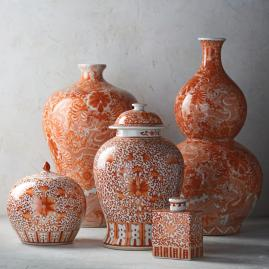 Coral and White Chinoiserie Dragon Double Gourd Vase