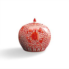 Coral and White Chinoiserie Lidded Pot