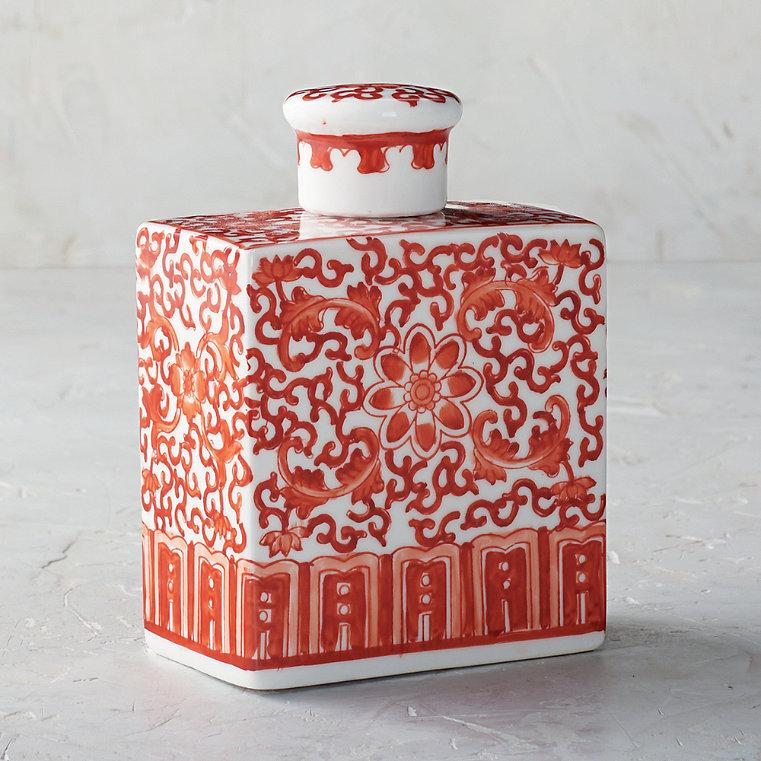 Coral Ming Small Rectangular Lidded Jar