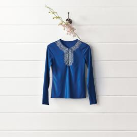 Embroidered Ruched Rashguard Shirt