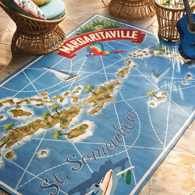 Margaritaville St Somewhere Map Outdoor Rug Frontgate