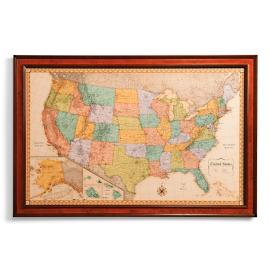 Heirloom Antiqued Linen Map Frontgate - Us vintage map with dowel