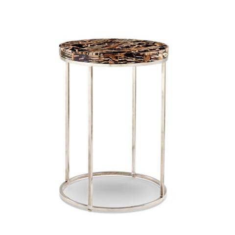 Petrified wood round side table