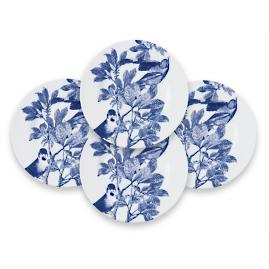 Blue Arbor Dessert Plates, Set of Four