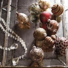 Matte Chocolate Mini Antique Ornaments, Set of Six