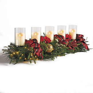Highland Holiday Five-Candle Pre-Decorated Centerpiece