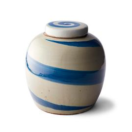 Brushstroke Ceramic Blue & White Pot