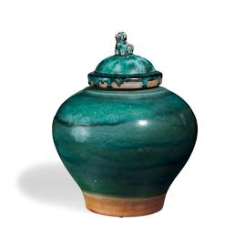 Emerald Lidded Dog Topper Vase