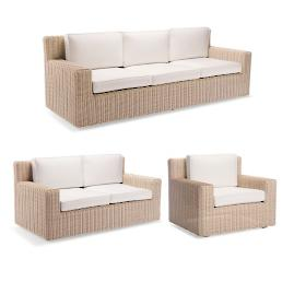 Hyde Park Sofa with Cushions in Ivory Finish