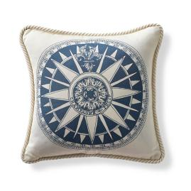 Nautical Compass Cobalt Outdoor Pillow