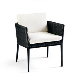 Palazzo Carbon Woven Dining Arm Chairs with Cushions,