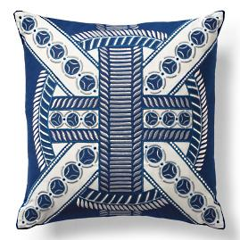 Mayan Ring Navy Outdoor Pillow