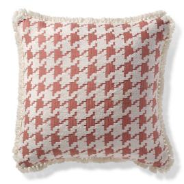 Houndstooth Fun Peony Outdoor Pillow