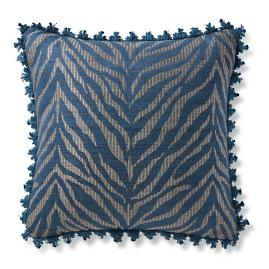 Zebra Linen Navy Outdoor Pillow