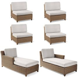 Somerset 6-pc. Double Chaise Set with Cushions