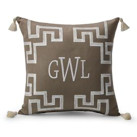 Dynasty Monogram Sand Outdoor Pillow