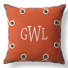 Lace Border Monogram Outdoor Pillow